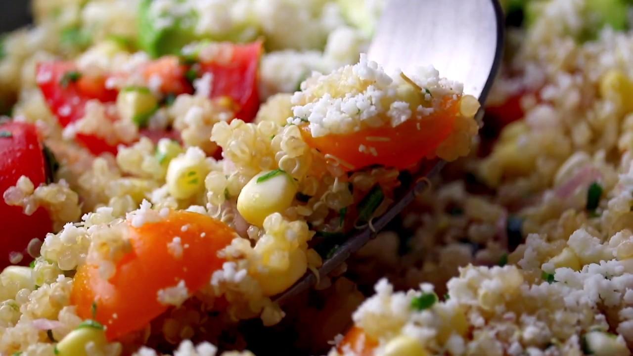 Corn, Avocado, and Quinoa Salad with Marinated Tomatoes   Pinch of Yum