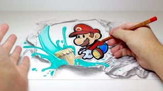 "Spectacular Anamorphic Illusion Drawing #1: Paper Mario from ""Paper Mario: Color Splash"""