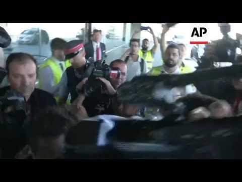Neymar leaves Barcelona airport for Paris