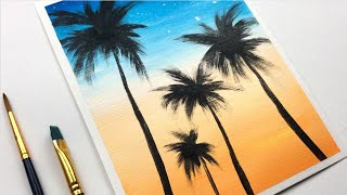 Palm Tree Sunset Easy & Simple Acrylic Painting Step By Step For Beginners |