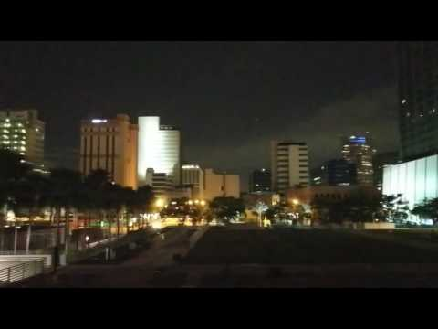 Curtis Hixon Park, downtown Tampa  & the Plant Museum lit up at night