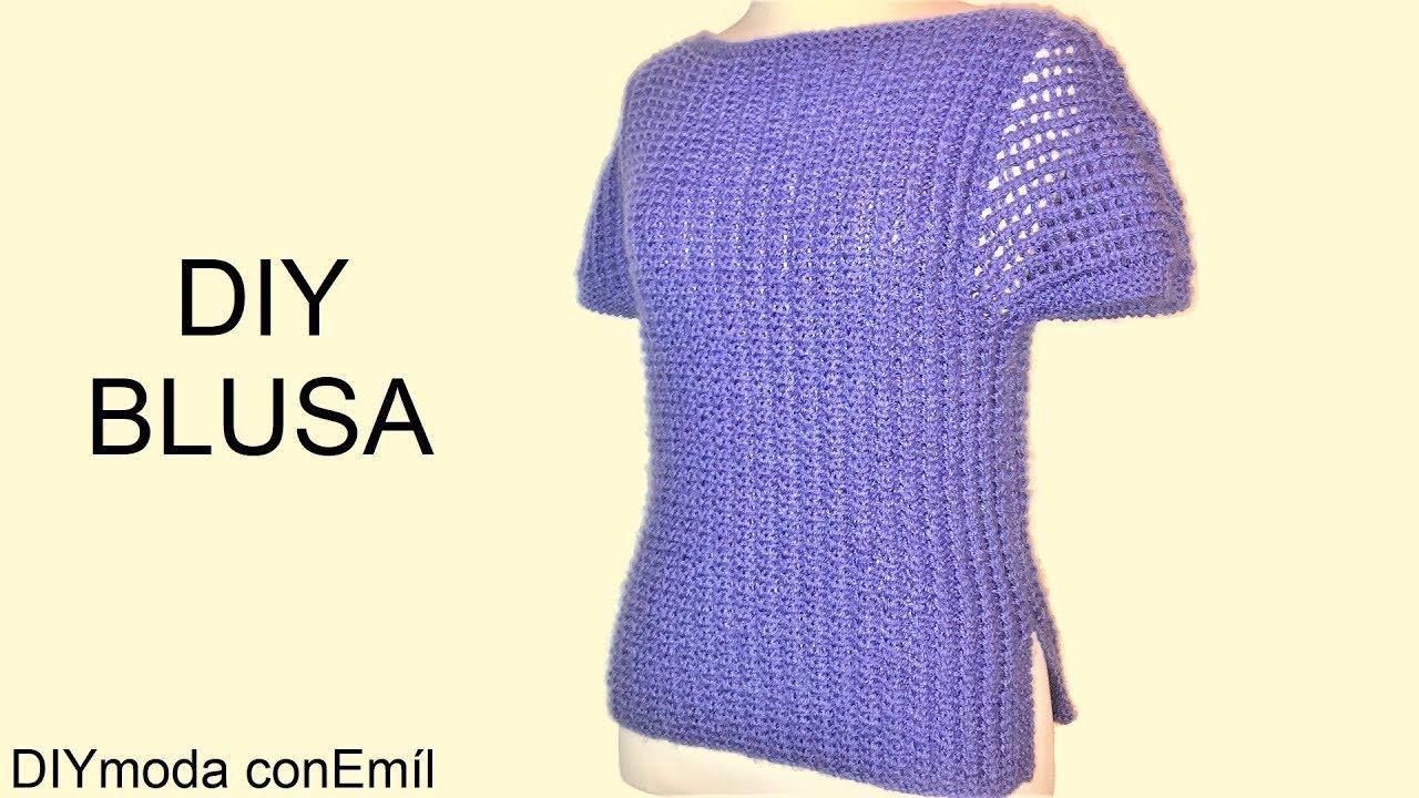f9f535f29 Blusa Suéter de mujer tejido a dos agujas paso a paso - YouTube