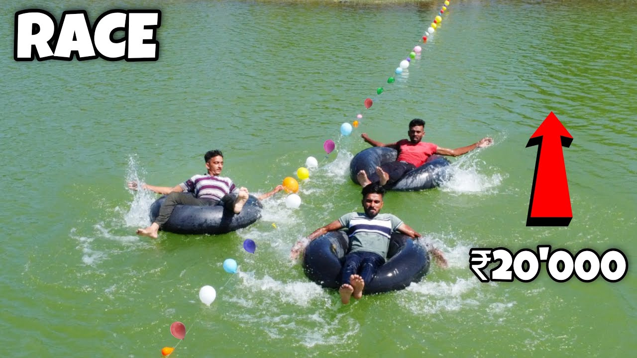 Tire Tube Race Competition At River | Winner Will Get 20000RS🤑🤑