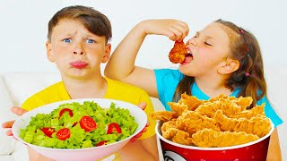 Ali and Adriana Eat Healthy Food and Fried Chicken | Funny Food Toys Video for Kids