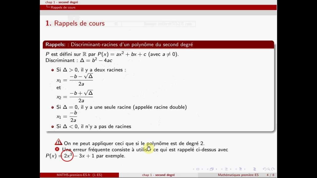 Première ES-chapitre1-second degré: équations du second ...