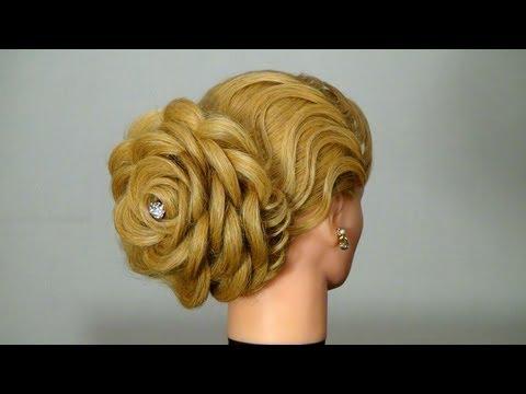 Вечерняя прическа: Роза. Цветок из волос. Hair made rose