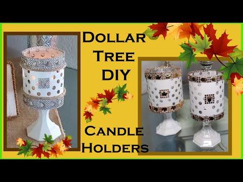 Dollar Tree DIY Fall Decor 2019 Candle Holders - Farmhouse Decor and Glam Decor Styles