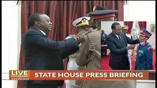 Pres. Kenyatta presides swearing-in of Military commanders at State House, Nairobi.