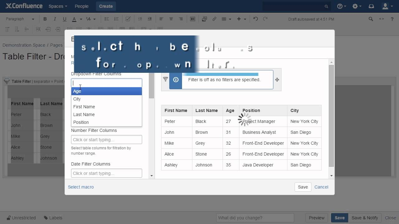 Managing Dropdown Filters - StiltSoft Docs - Table Filter and Charts