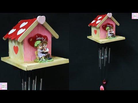 DIY Popsicle Stick Wind Chime / Valentine's Day Gift Idea / Valentine Special /Popsicle stick Craft