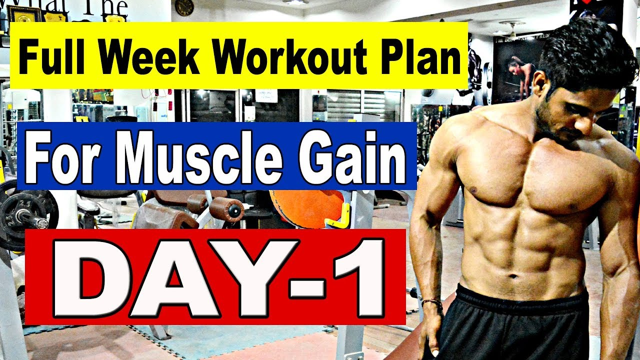 Full Week Workout Plan For Muscle Gain / Weight Gain | Day-1