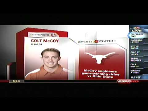 Colt McCoy phone interview on Sports Center after winning the 2009 Fiesta Bowl