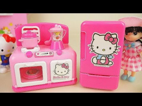 Thumbnail: Hello Kitty Refrigerator and kitchen and baby doll toys play