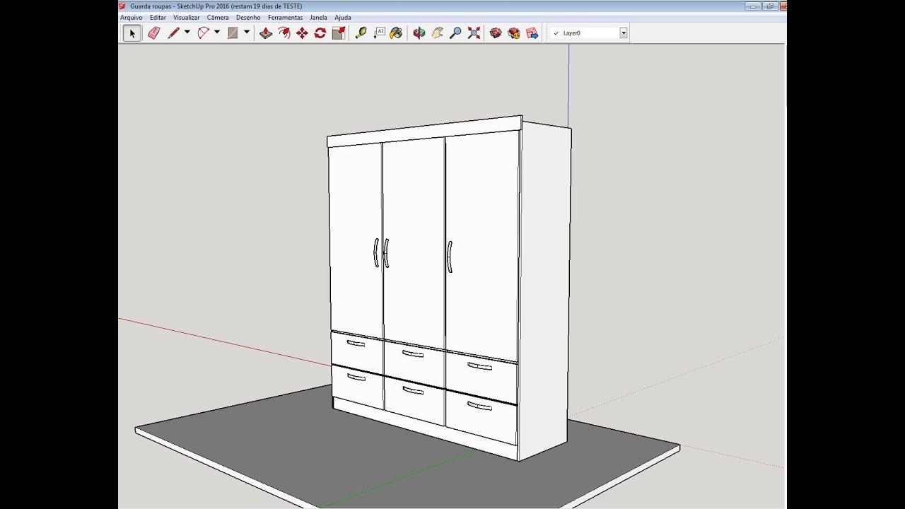 Guarda Roupa Em L ~ Como Desenhar Porta e Gavetas em um Guarda Roupas no Google Skechup YouTube