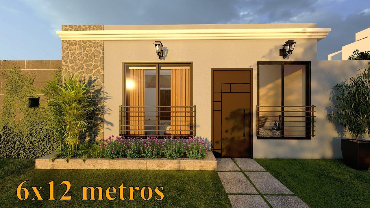 Plano de casa de 6x12 metros | 2 Dormitorios | 72 Metros cuadrados
