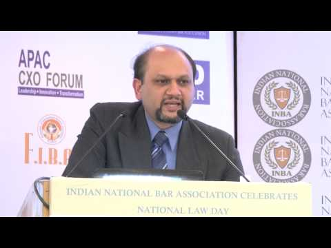 Mr. D.Baliga, VP-Legal, Coca-Cola India giving speech on INBA National Law Day