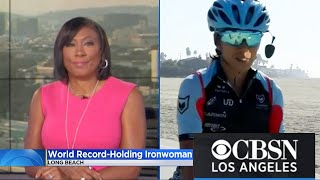 World Record-Holding Ironman in Long Beach | CBS News Shangrila Rendon