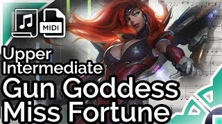 Gun Goddess Miss Fortune login theme (simplified) - League of Legends (Synthesia Piano Tutorial)