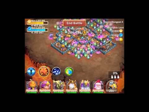 Castle Clash Insane Dungeon 4-3 With F2p Heroes