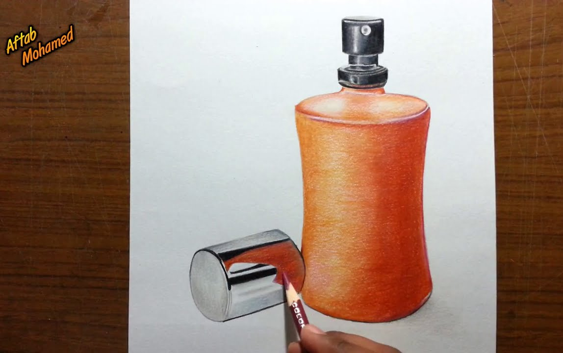 Realistic Object drawing -- How to draw a Perfume bottle ...