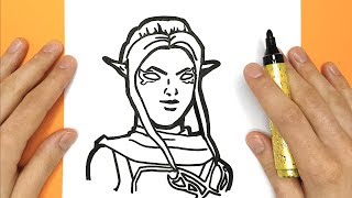 How to draw the skin ember Fortnite step by step - Draw and pixelate