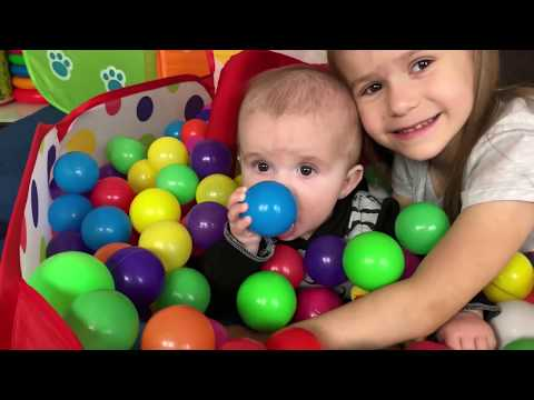 Kids playing with Little BROTHER\Play with FUNNY BOXES Video for Kids JoyJoy Lika