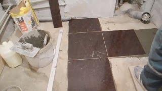Раскладка плитки на пол,в ванной комнате ч.2