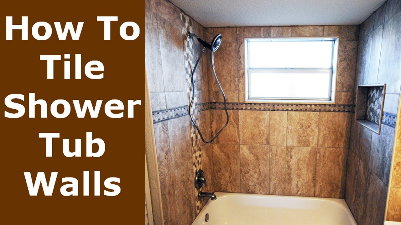 How To Tile Bathroom Shower Tub Surround, Niche Demo to Finish - YouTube