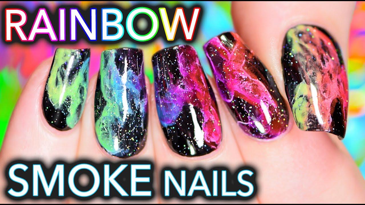 Rainbow Holo Smoke Nails Mani Swap With Elleandish Youtube