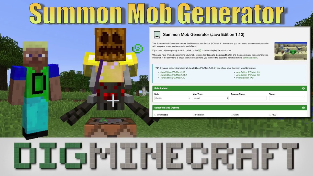 Summon Mob Generator (Java Edition 1 14)