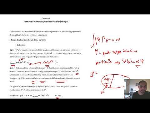 21. Le Formalisme Mathématique De La Physique Quantique- Part 1