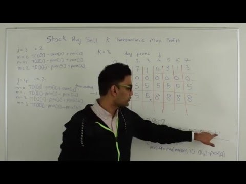 Buy/Sell Stock With K transactions To Maximize Profit Dynamic Programming