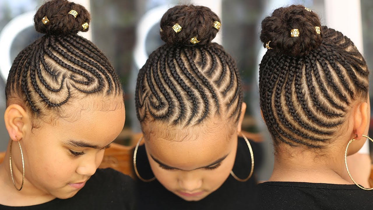 super cute back to school cornrows || kids natural hair