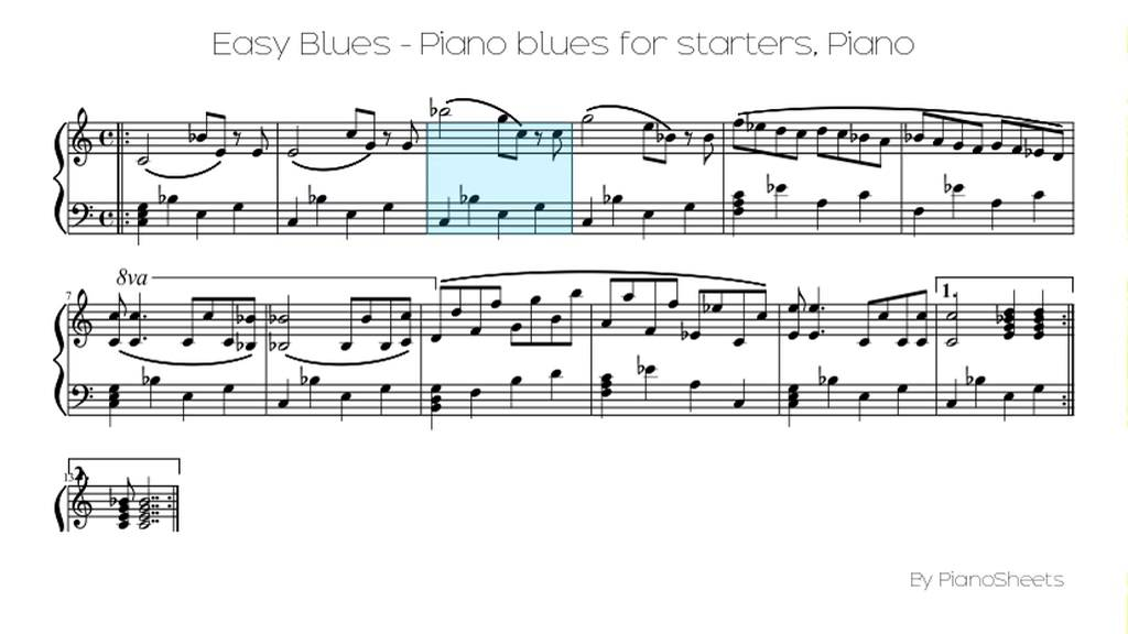 Piano easy piano blues sheet music : Easy Blues - Piano blues for starters [Piano Solo] - YouTube
