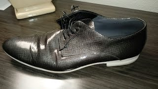 Hugo Boss Shattered Glass Patent Leather Derby Review. White Bottoms. Watch and Shoes!