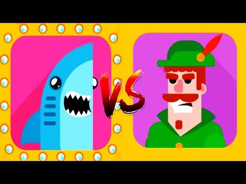 Bowmasters - Gameplay Walkthrough 14 Epic Wins - New Characters SHARK Vs ROBIN