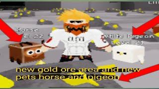 Roblox pet mining simulatore parte 6: nuova area minerale d'oro e nuovo cavallo animale domestico, piccione bianco con ironninjar