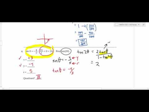 MATH 1120 College Trigonometry: Section 8.6 Half-Angle and Double-Angle Identities