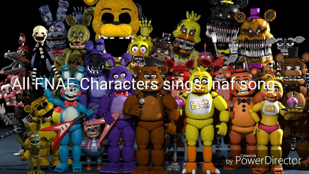 All Fnaf Characters Sing The Fnaf Song Youtube