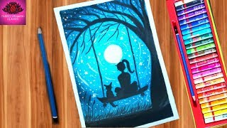 Beautiful moonlight scenery drawing with oil pastel step by step
