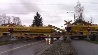 VR-Track work train passed MELLILÄ (km.0219+0784) level crossing in Loimaa, Finland