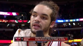 Joakim Noah Crazy triple double 23 Pts 21 Reb 11 Blk  vs 76ers 28.2.13 HD