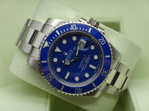 The beauty of Rolex Submariner Date 116619LB Blue dial 40 mm white gold luxury watch