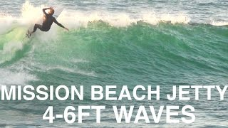 Mission Beach Jetty Surfing 4-6ft Waves - December 6th 2015