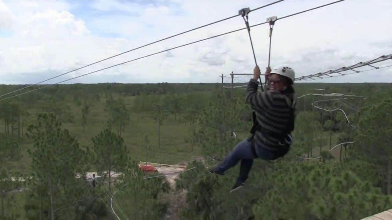zipline roller coaster ride at forever florida youtube