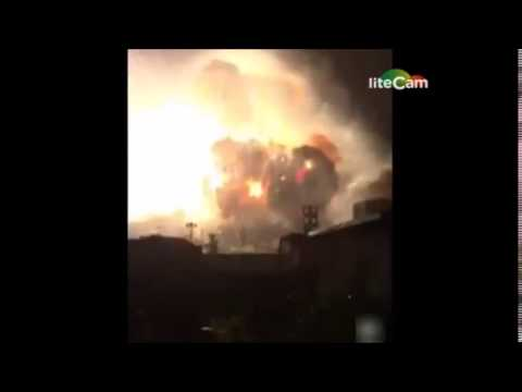 chinese factory fire EXPLOSION SLOW MOTION