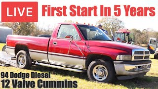 LIVE First Start In Over 5 Years | 1994 Dodge 12 Valve Cummins Diesel | Will It Run? | RESTORED