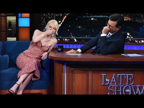 Emma Stone talks tennis, sexism, and anxiety on Colbert