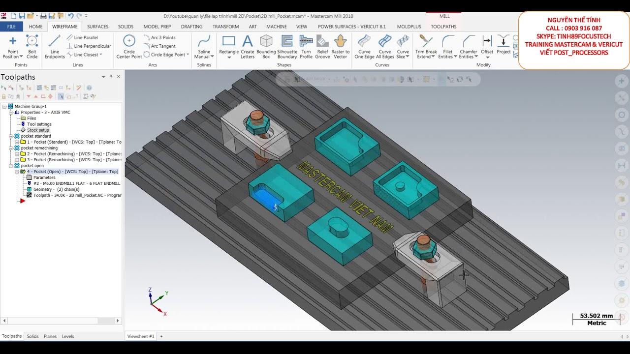Programing Milling 2D [ Pocket ] on Mastercam 2018 - Setup to Vericut 8 1  Tutorial - CAD/CAM/CNC