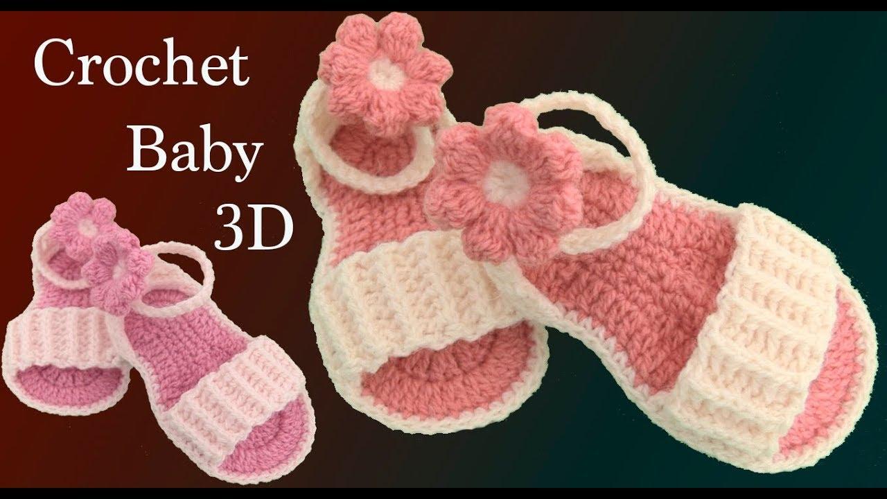 efc7bf671 Como hacer sandalias para bebe a crochet con flores tejidas en 3D tejido  tallermanualperu
